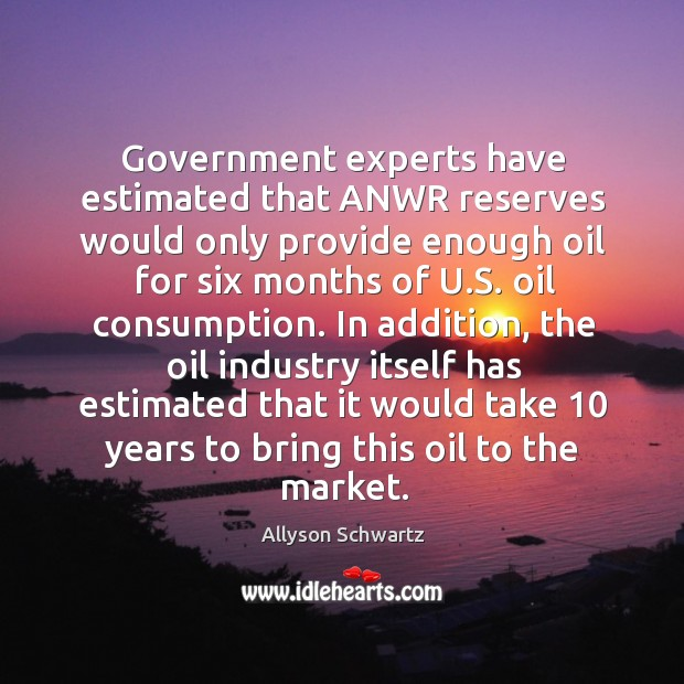 Government experts have estimated that anwr reserves would only provide enough oil for six months of u.s. Oil consumption. Image