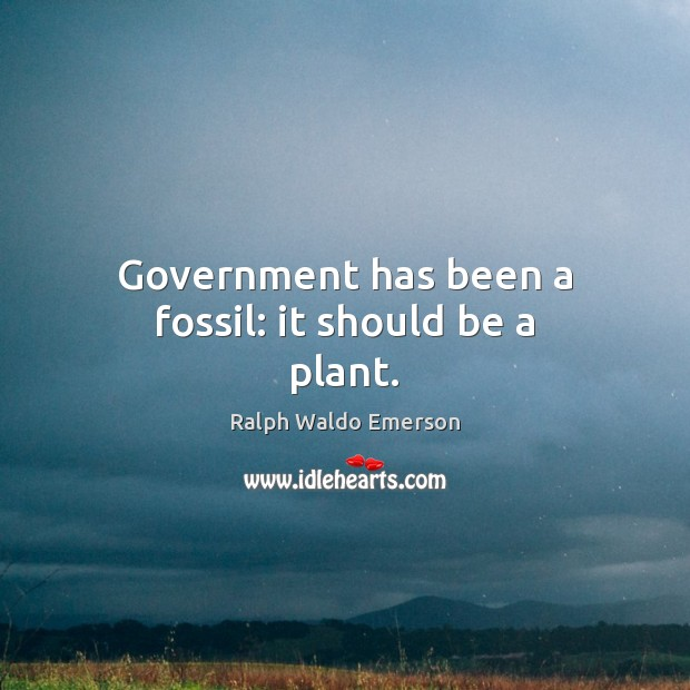 Government has been a fossil: it should be a plant. Image