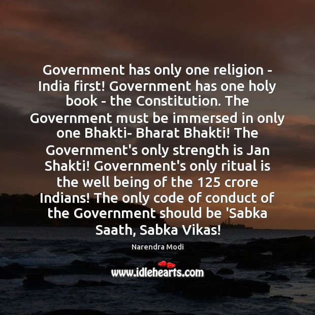 Image, Government has only one religion – India first! Government has one holy