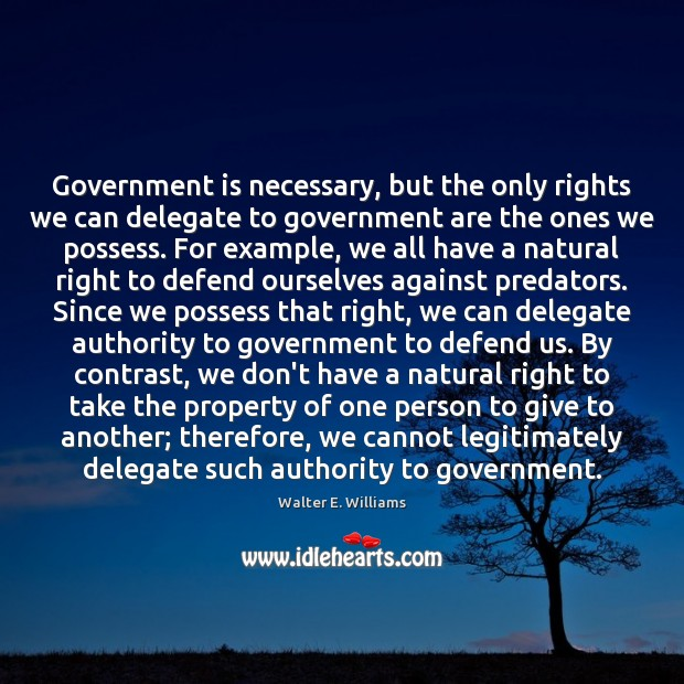 Government is necessary, but the only rights we can delegate to government Walter E. Williams Picture Quote