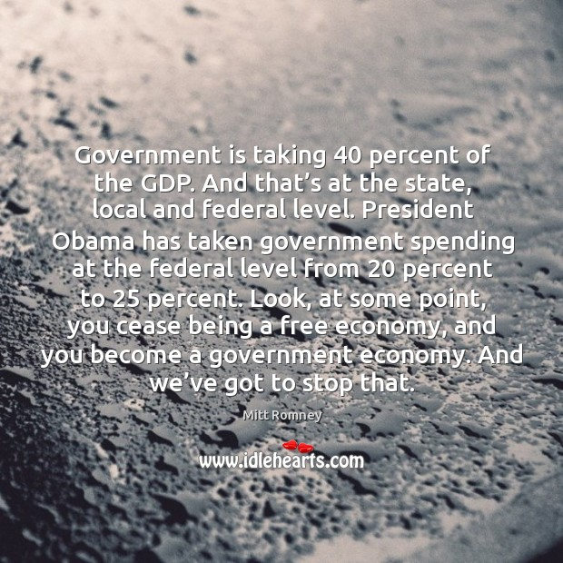 Government is taking 40 percent of the gdp. Image