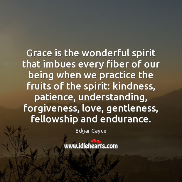 Grace is the wonderful spirit that imbues every fiber of our being Edgar Cayce Picture Quote