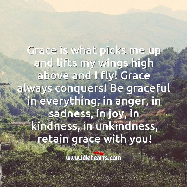 Grace is what picks me up and lifts my wings high above and I fly. Image