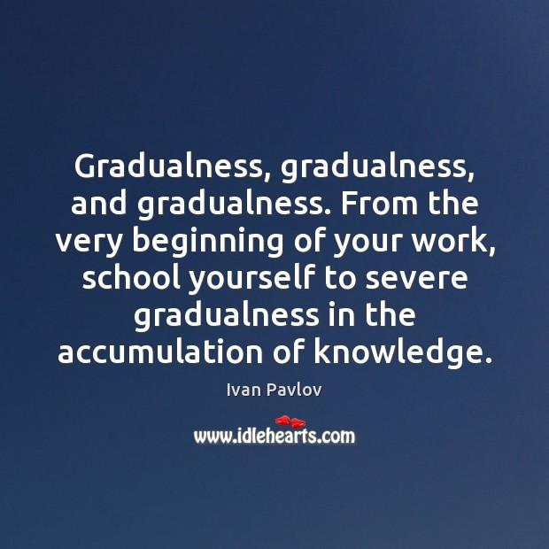 Gradualness, gradualness, and gradualness. From the very beginning of your work, school Image