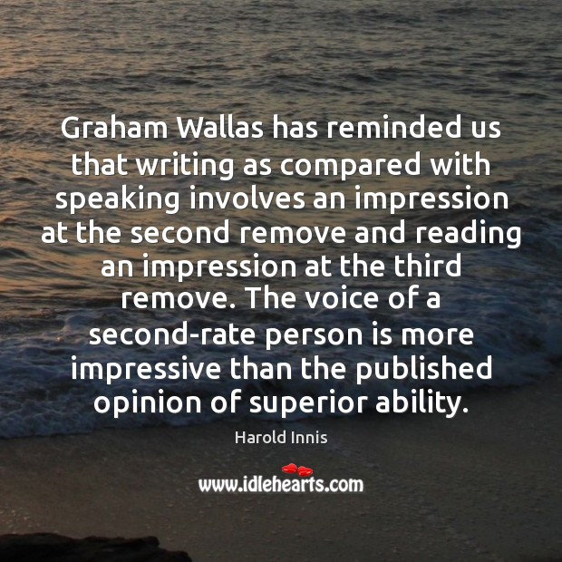 Image, Graham Wallas has reminded us that writing as compared with speaking involves