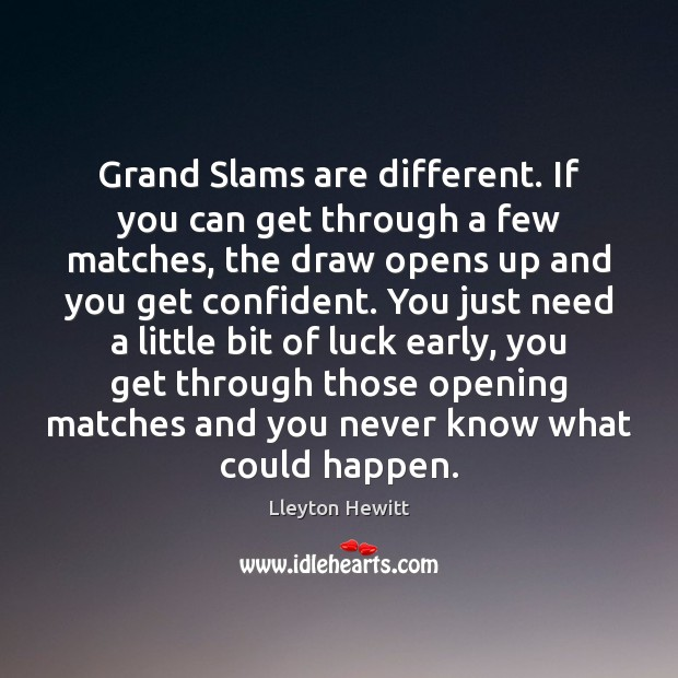 Grand Slams are different. If you can get through a few matches, Luck Quotes Image