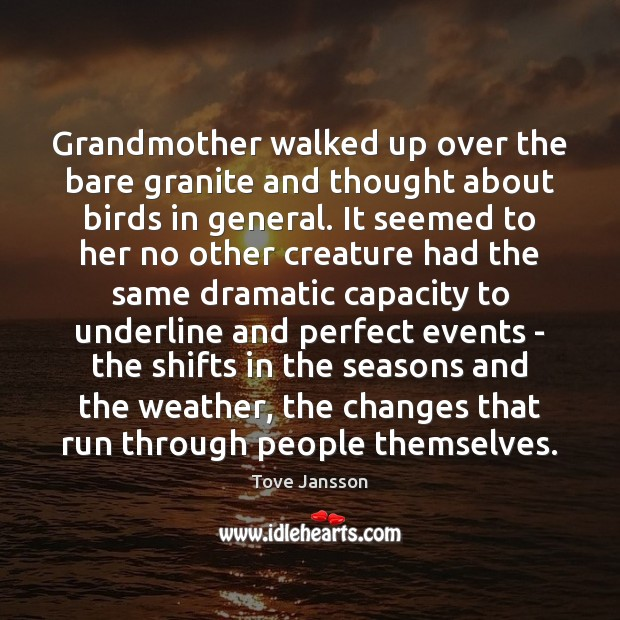 Grandmother walked up over the bare granite and thought about birds in Tove Jansson Picture Quote
