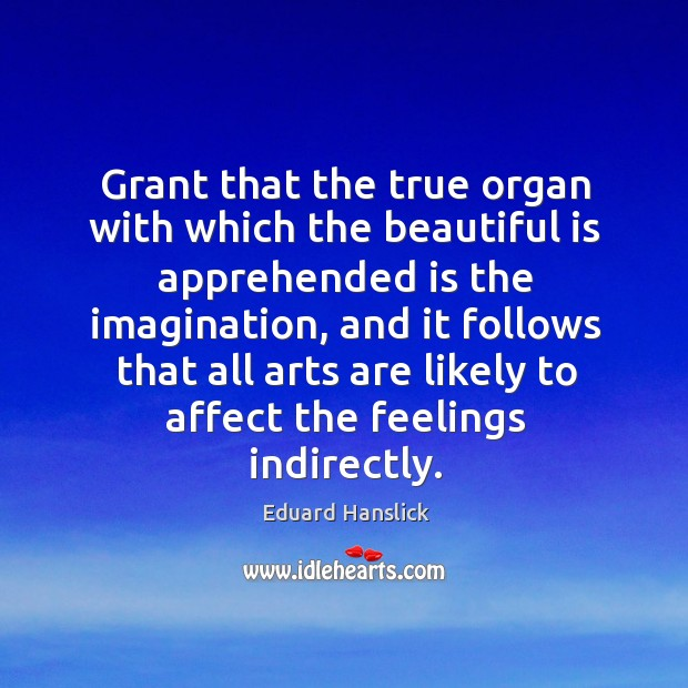 Grant that the true organ with which the beautiful is apprehended is the imagination Image