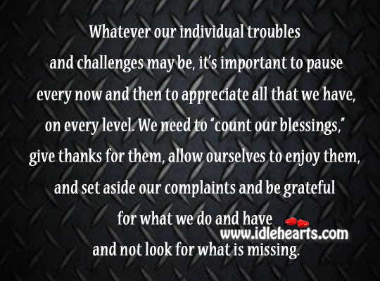 """We Need To """"Count Our Blessings,"""" Give Thanks For Them"""