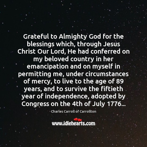 Image, Grateful to Almighty God for the blessings which, through Jesus Christ Our