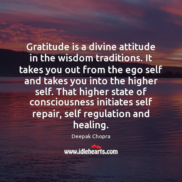 Gratitude is a divine attitude in the wisdom traditions. It takes you Image