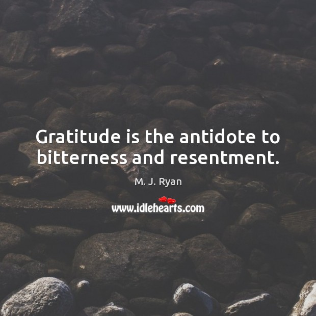 Gratitude is the antidote to bitterness and resentment. Gratitude Quotes Image