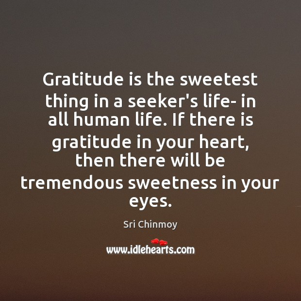 Gratitude is the sweetest thing in a seeker's life- in all human Gratitude Quotes Image