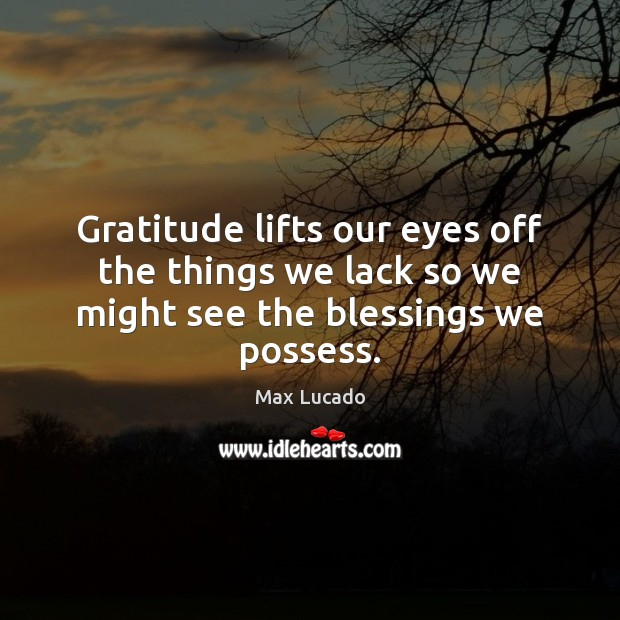 Gratitude lifts our eyes off the things we lack so we might see the blessings we possess. Image