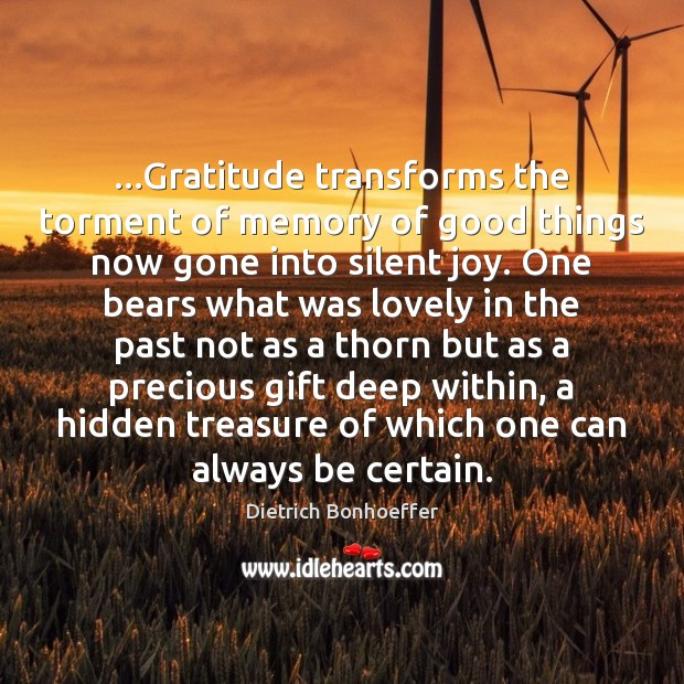 …Gratitude transforms the torment of memory of good things now gone into Image