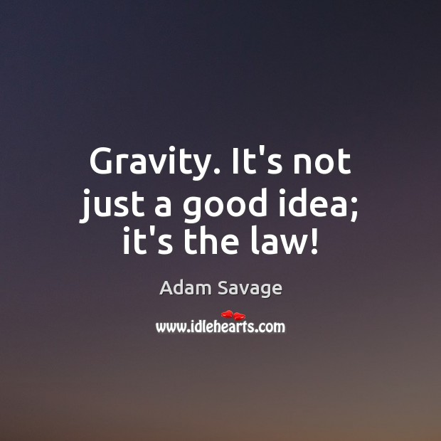 Gravity. It's not just a good idea; it's the law! Image