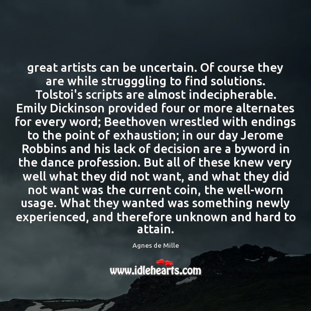 Image, Great artists can be uncertain. Of course they are while strugggling to