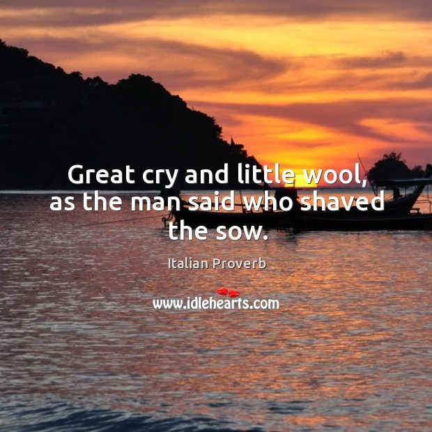 Great cry and little wool, as the man said who shaved the sow. Image