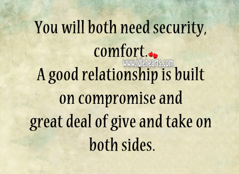Image, A good relationship is built on compromise.