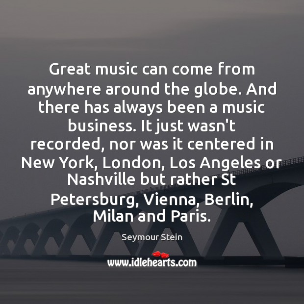 Great music can come from anywhere around the globe. And there has Image