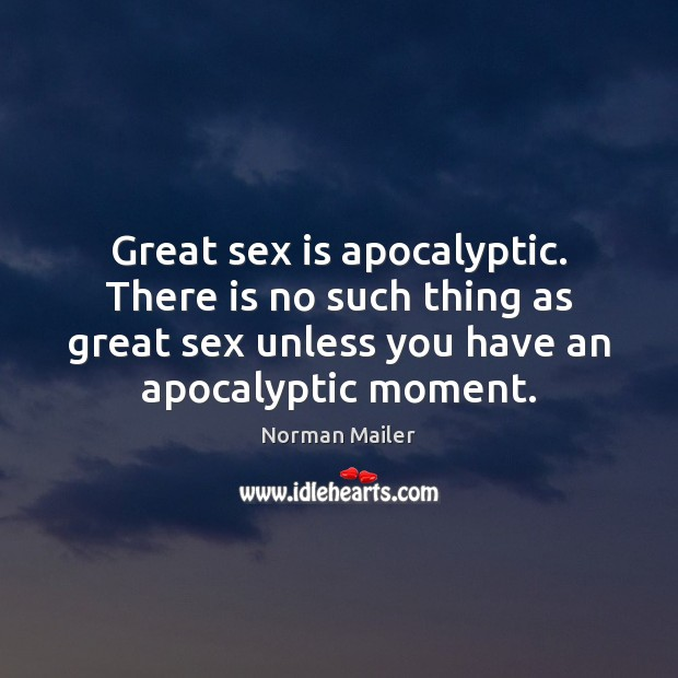 Great sex is apocalyptic. There is no such thing as great sex Image
