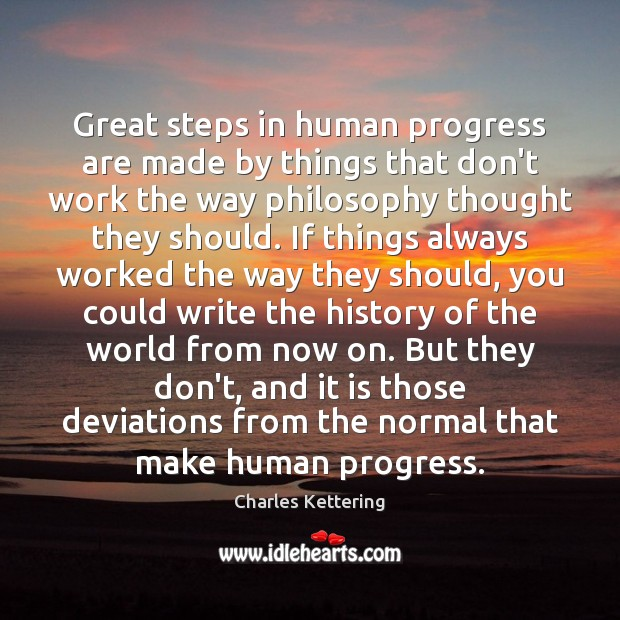 Great steps in human progress are made by things that don't work Charles Kettering Picture Quote