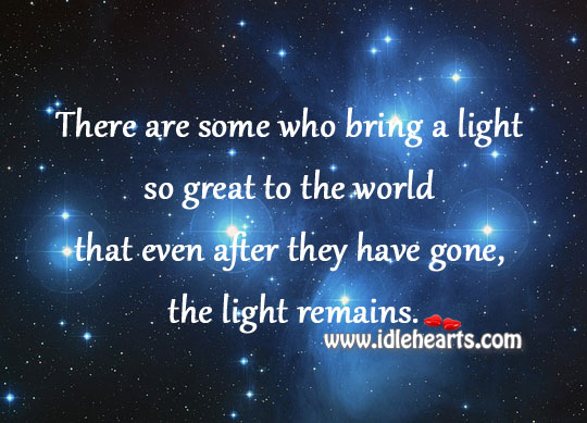 Bring a light so great to the world Image