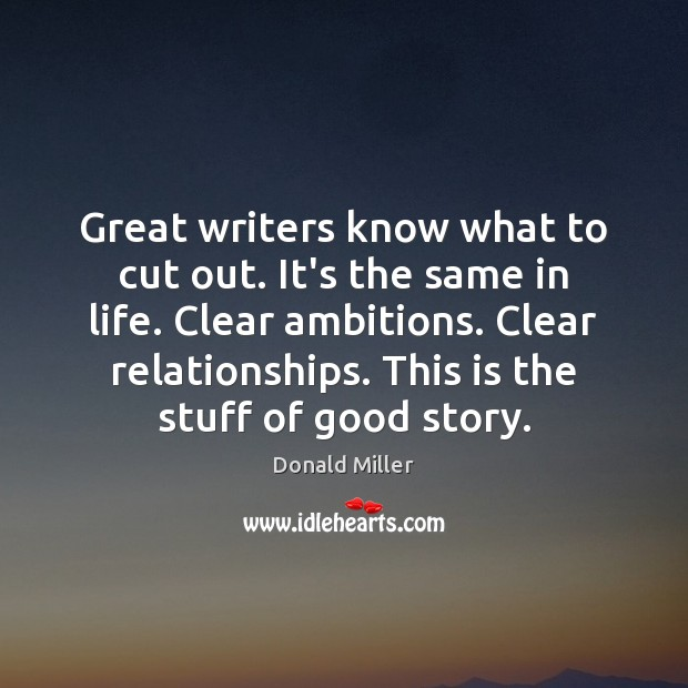 Great writers know what to cut out. It's the same in life. Image