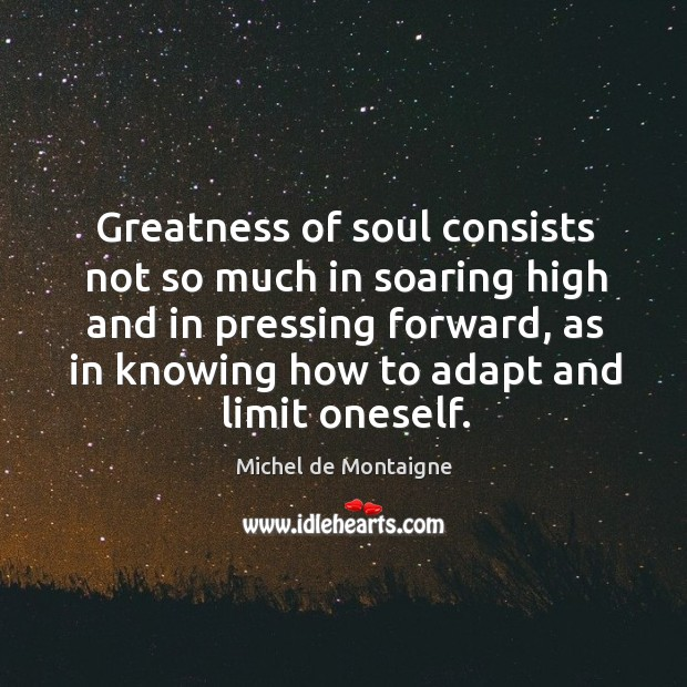 Image, Greatness of soul consists not so much in soaring high and in pressing forward, as in knowing how to adapt and limit oneself.