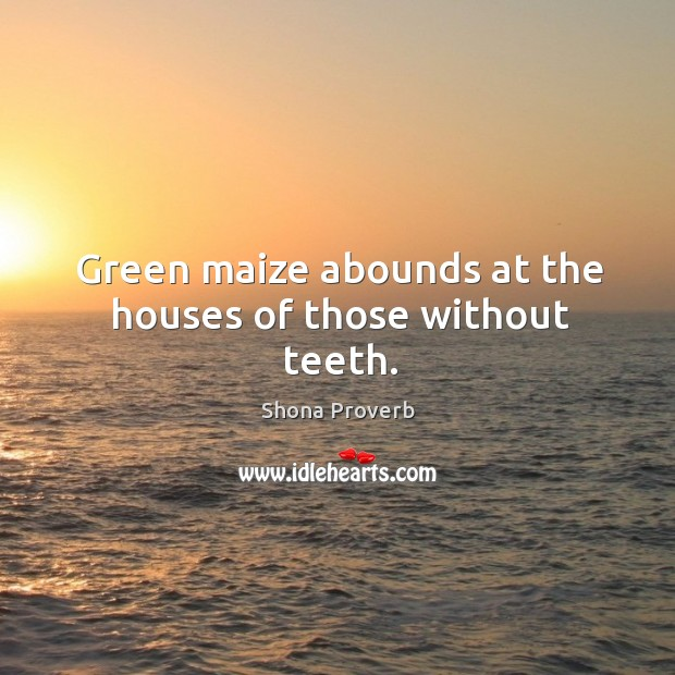 Green maize abounds at the houses of those without teeth. Shona Proverbs Image
