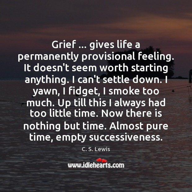Grief … gives life a permanently provisional feeling. It doesn't seem worth starting Image