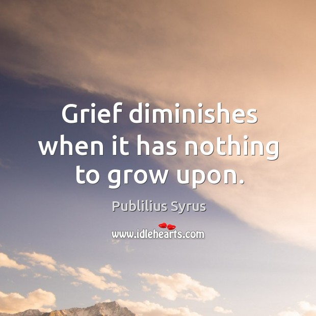 Grief diminishes when it has nothing to grow upon. Image
