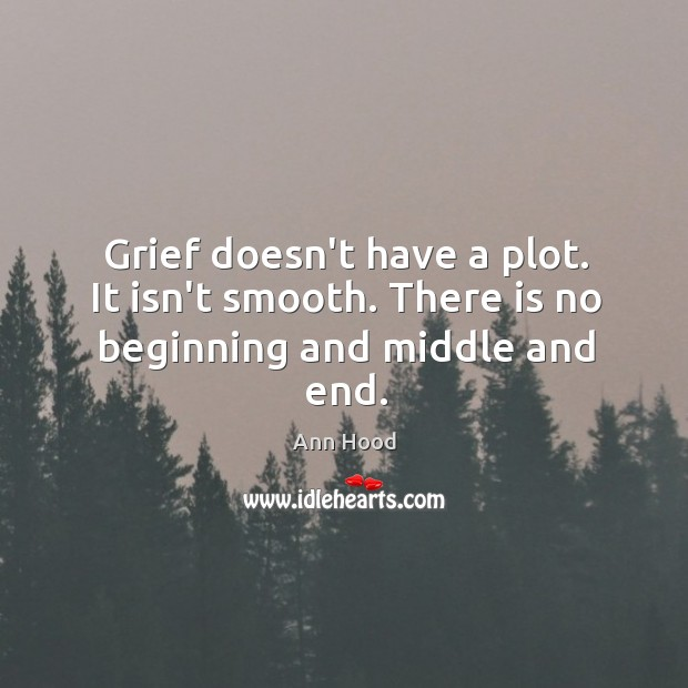 Image, Grief doesn't have a plot. It isn't smooth. There is no beginning and middle and end.