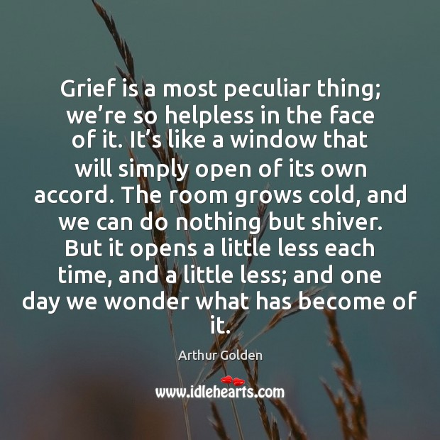 Grief is a most peculiar thing; we're so helpless in the Arthur Golden Picture Quote