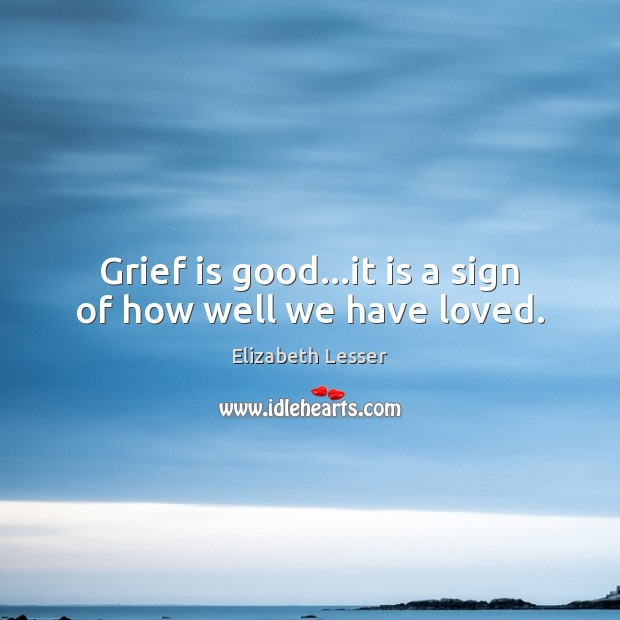 Grief is good…it is a sign of how well we have loved. Elizabeth Lesser Picture Quote