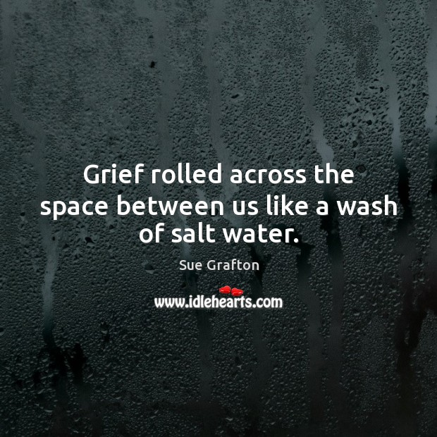 Grief rolled across the space between us like a wash of salt water. Sue Grafton Picture Quote
