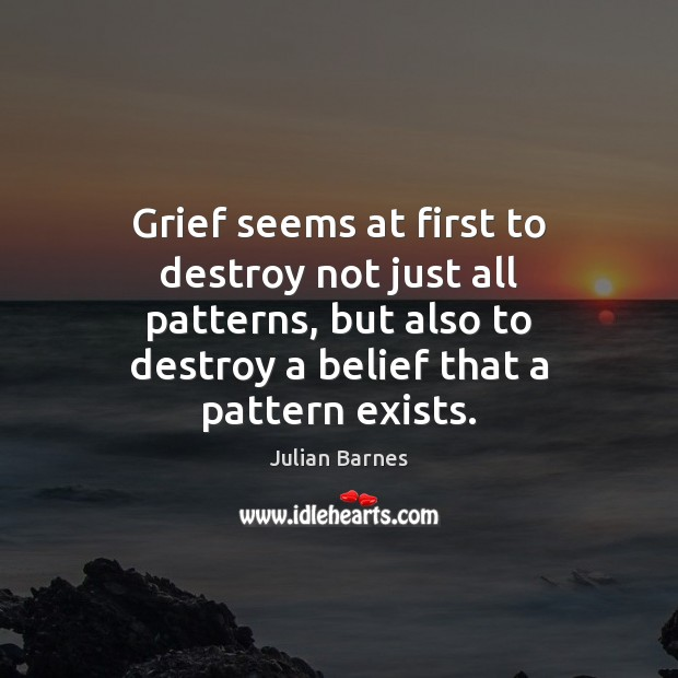 Grief seems at first to destroy not just all patterns, but also Image