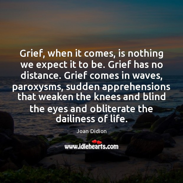 Grief, when it comes, is nothing we expect it to be. Grief Image