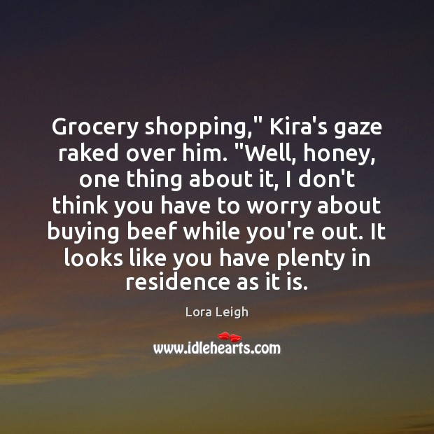 """Grocery shopping,"""" Kira's gaze raked over him. """"Well, honey, one thing about Image"""
