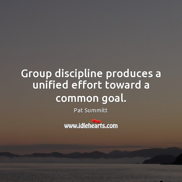 Group discipline produces a unified effort toward a common goal. Goal Quotes Image