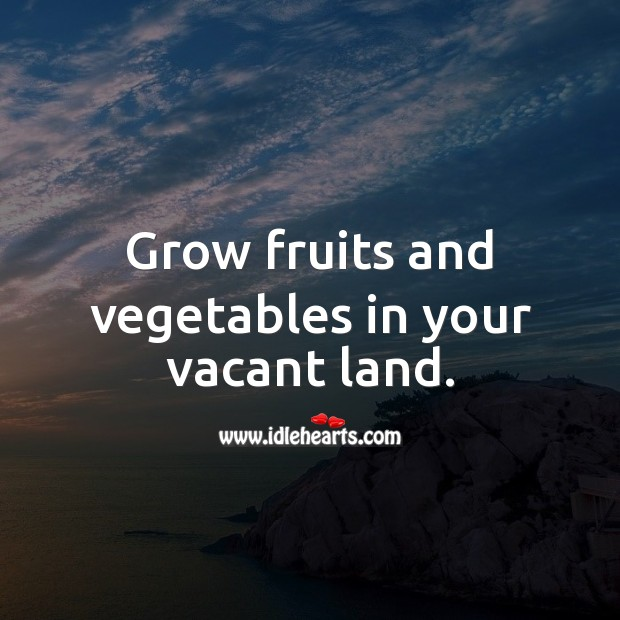 Grow fruits and vegetables in your vacant land. Food Quotes Image
