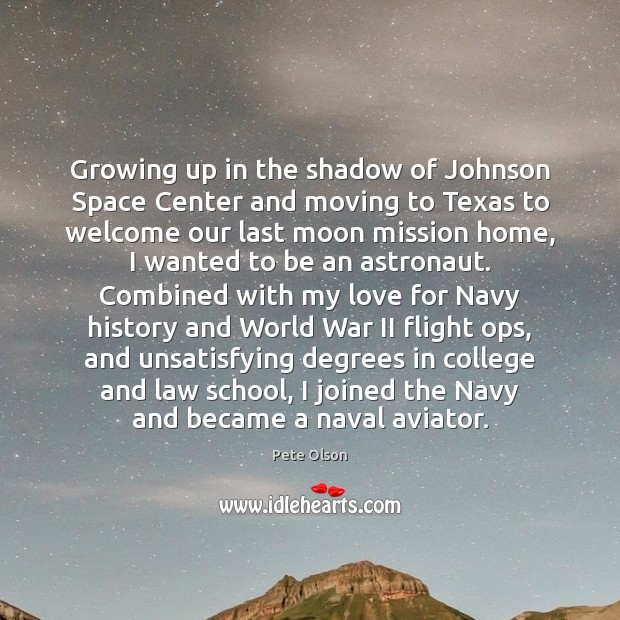 Image, Growing up in the shadow of Johnson Space Center and moving to