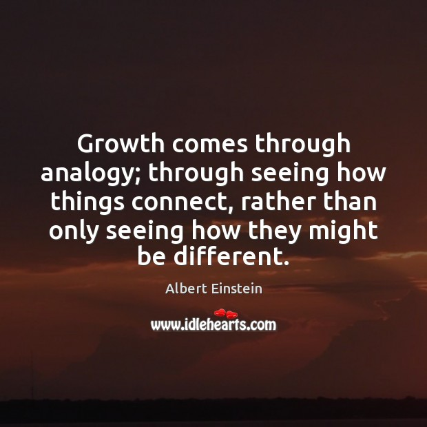 Image, Growth comes through analogy; through seeing how things connect, rather than only