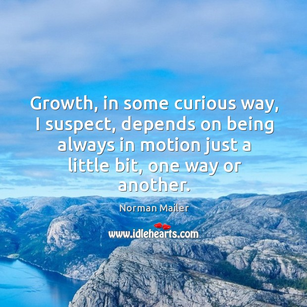 Growth, in some curious way, I suspect, depends on being always in motion just a little bit, one way or another. Image
