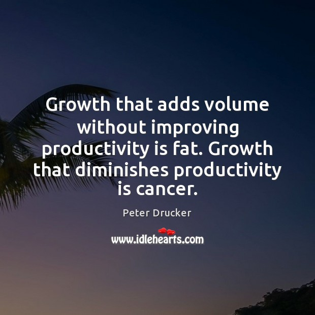 Growth that adds volume without improving productivity is fat. Growth that diminishes Image