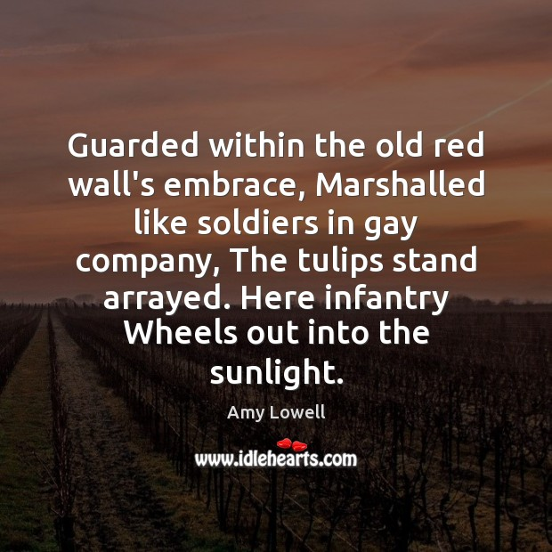 Image, Guarded within the old red wall's embrace, Marshalled like soldiers in gay