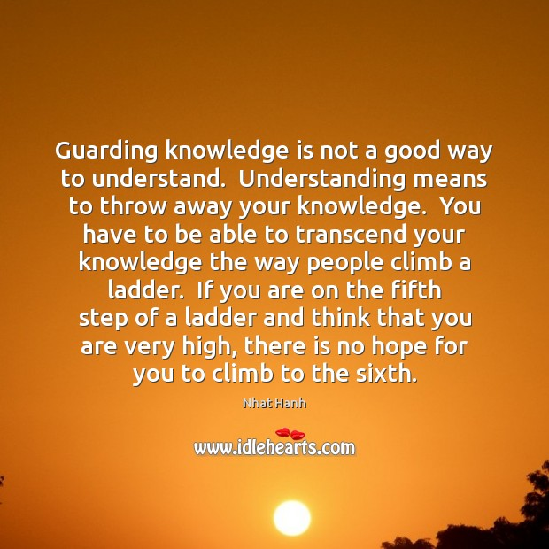 Guarding knowledge is not a good way to understand.  Understanding means to Image