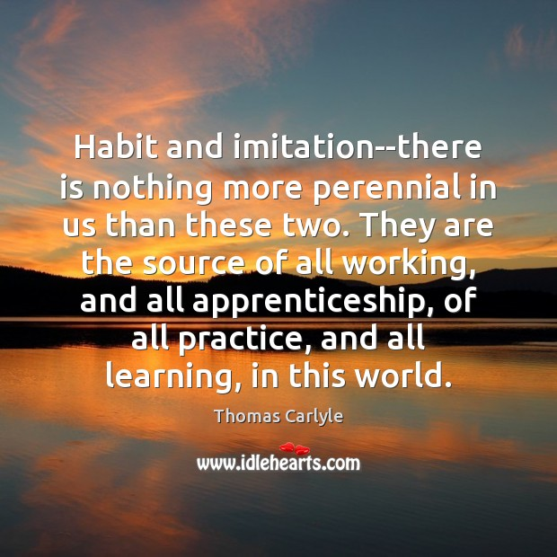 Image, Habit and imitation–there is nothing more perennial in us than these two.
