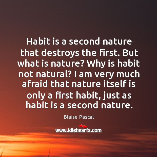 Habit is a second nature that destroys the first. But what is nature? why is habit not natural? Image