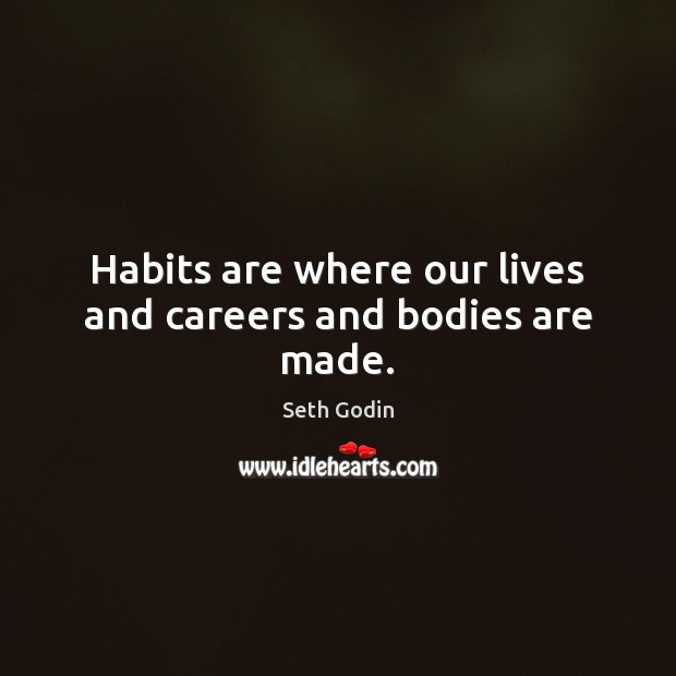 Habits are where our lives and careers and bodies are made. Seth Godin Picture Quote